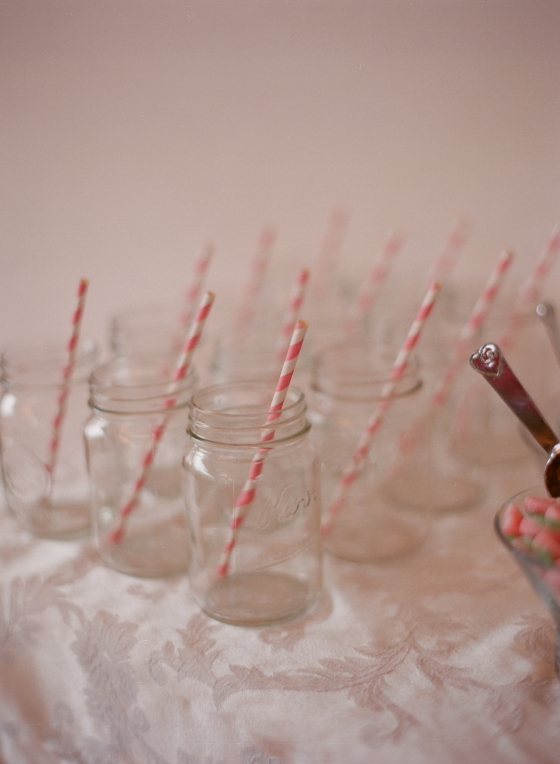 mason jar glasses with pink swirly straws