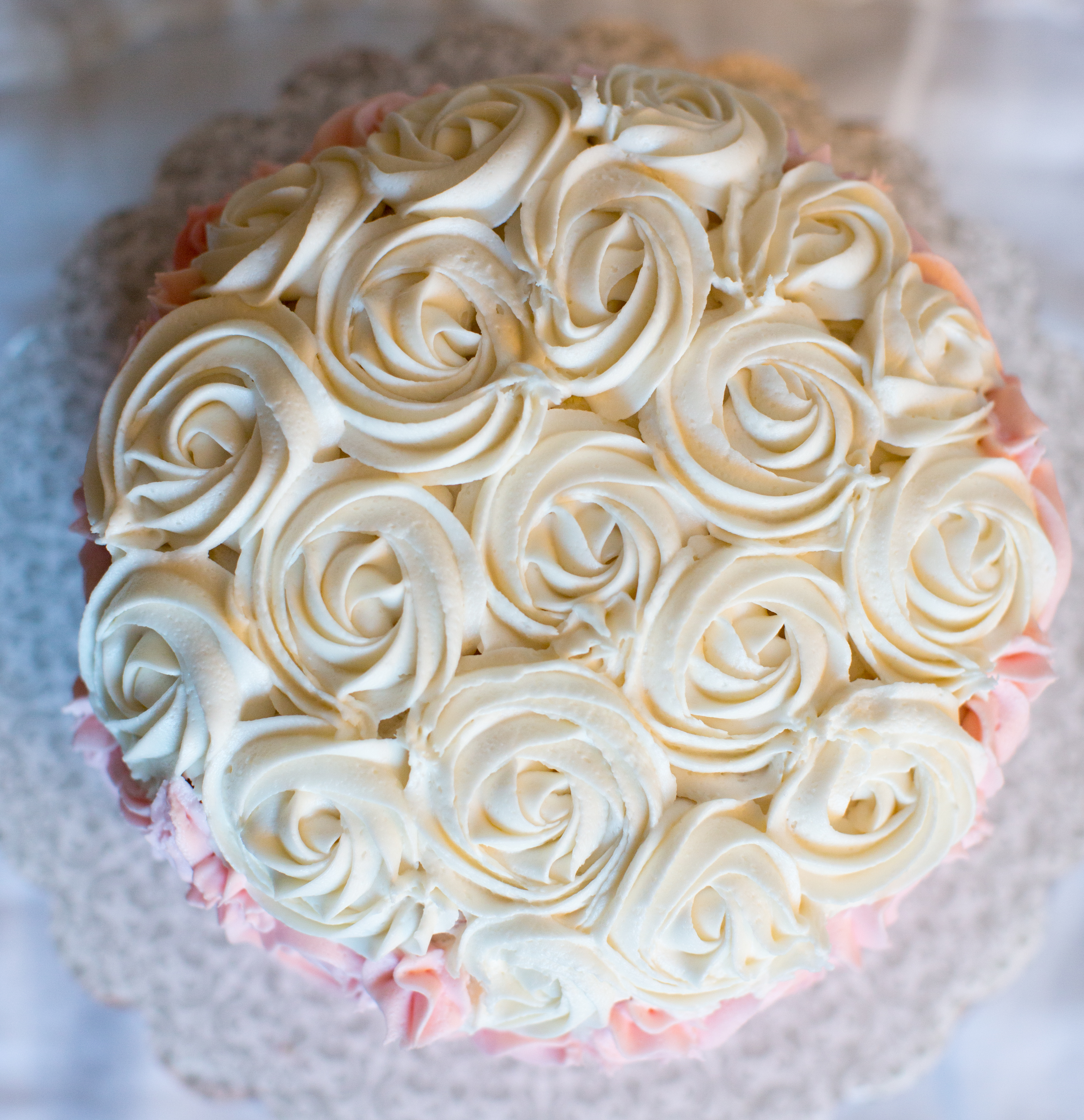 Pink, Blush & Ivory Rose Ombre Cake | Costa Kitchen